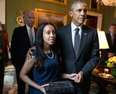 President Barack Obama waits with introducer Haben Girma, who is deaf and blind, in the Green Room prior to remarks during the Americans with Disabilities Act 25th Anniversary reception in the East Room of the White House, July 20, 2015. (Official White House Photo by Pete Souza)This photograph is provided by THE WHITE HOUSE as a courtesy and may be printed by the subject(s) in the photograph for personal use only. The photograph may not be manipulated in any way and may not otherwise be reproduced, disseminated or broadcast, without the written permission of the White House Photo Office. This photograph may not be used in any commercial or political materials, advertisements, emails, products, promotions that in any way suggests approval or endorsement of the President, the First Family, or the White House.