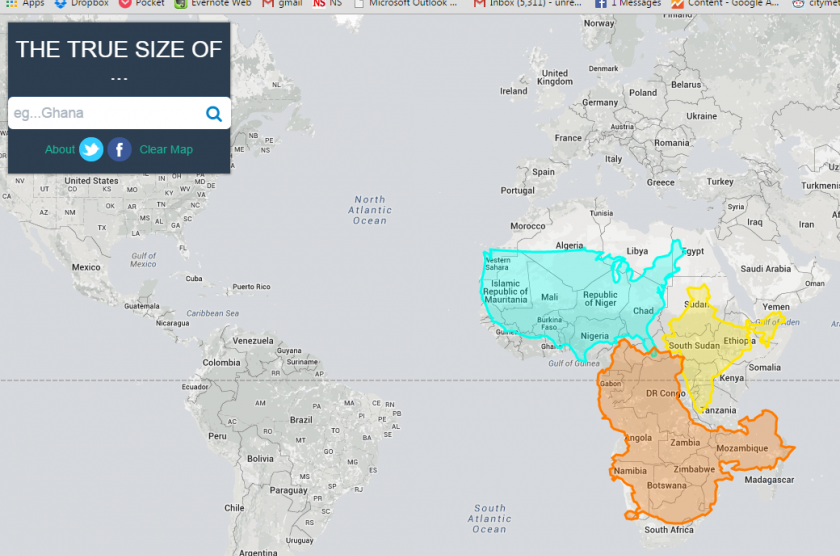 The US, China and India combined: still not quite as big as Africa. Image: The True Size.