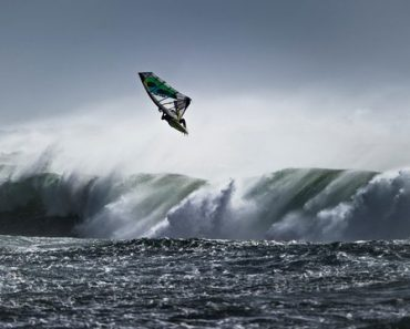 Marcilio Browne from Brasil performs at the Mission 2 of the Red Bull Storm Chase in Marrawah at the Back of Lighthouse, Tasmania on August 19 2013.